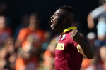 Andre Russell is pumped after dismissing Wahab Riaz