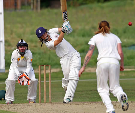 Amy Jones hits a boundary on the way to 155 not out