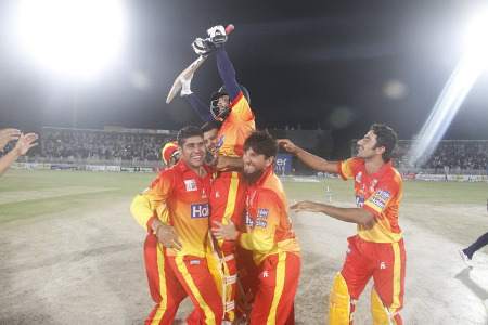 Peshawar celebrate after securing the title for the second time in a row