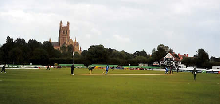 Action at Worcester during the 5th ODI