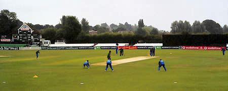 England Women fielding at Worcester during the 5th ODI