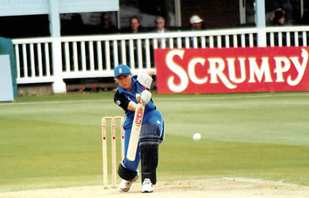 Barbara Daniels on the front foot during the 5th ODI