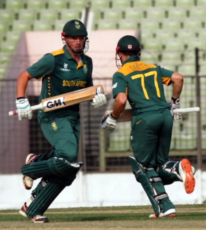 Liam Smith and Wiann Mulder of South Africa Under-19s complete a run during the warm-up match against West Indies Under-19s