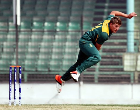 Wiann Mulder of South Africa Under-19s bowling during the warm-up match against West Indies Under-19s