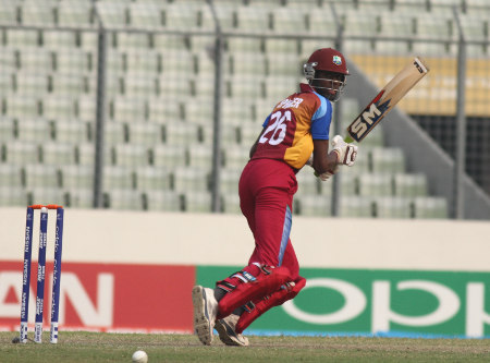 West Indies' batsman guides one to third man