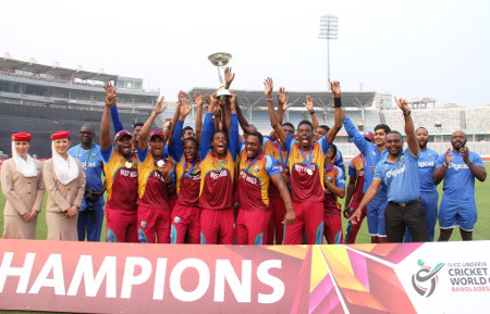 West Indies celebrate with the trophy