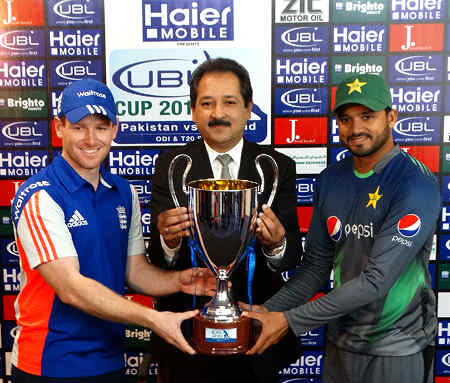 The ODI Trophy being unveiled