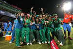 Pakistan celebrate after beating India