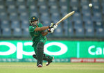 Sidra Ameen of Pakistan hits out during the Women's ICC World Twenty20