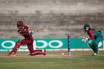 Hayley Matthews of the West Indies in action with Nigar Sultana of Bangladesh