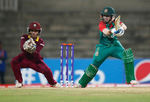 Nigar Sultana of Bangladesh in action with Merissa Aguilleira of the West Indies during the Women's ICC World Twenty20