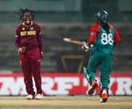 Deandra Dottin of the West Indies celebrates taking the wicket of Ritu Moni of Bangladesh