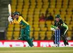 Trisha Chetty of South Africa in action with Alyssa Healy of Australia
