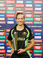 Meg Lanning, Captain of Australia poses for the camera with her Player of the Match award