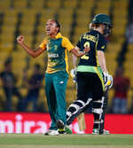 Shabnim Ismail of South Africa celebrates taking the wicket of Elyse Villani of Australia