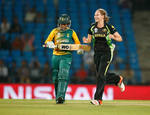 Lauren Cheatle of Australia celebrates getting the wicket of Trisha Chetty of South Africa