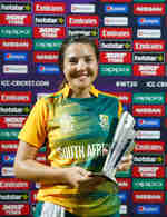 Sune Luus of South Africa celebrates winning the Player of the Match after taking 5 wickets