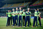 The Ireland team look dejected after they lose during the Women's ICC World Twenty20