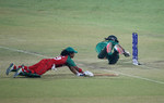 Sidra Nawaz of Pakistan runs out during the Women's ICC World Twenty20