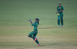 Sidra Nawaz of Pakistan celebrates the stumping of Lata Mondal of Bangladesh