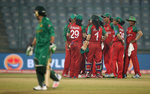 Bangladesh players celebrate the wicket of Nahida Khan of Pakistan