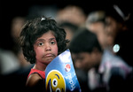 A young fan looks on during the Women's ICC World Twenty20
