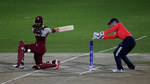 Stafanie Taylor, Captain of the West Indies sweeps the bal towards the bounday