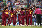 West Indies players celebrate victory