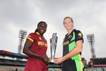 Stefanie Taylor, Captain of the West Indies and Meg Lanning, Captain of Australia with the trophy
