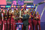 Captain of the West Indies Stafanie Taylor receives the Trophy with her team after winning the Women's ICC World Twenty20 India 2016 Final