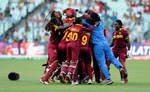 An ecstatic West Indies side after winning the T20 World Cup