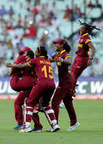 The West Indies embrace each other after winning the T20 World Cup
