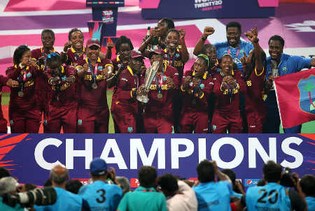 West Indies with the trophy