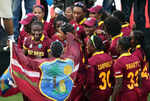 Stafanie Taylor, Captain of the West Indies and her team celebrate with the trophy