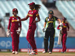 Hayley Matthews of the West Indies celebrates catching Alyssa Healy of Australia off her own bowlin