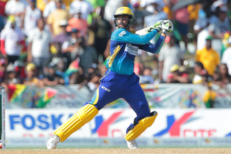 The batsman slashes one for four