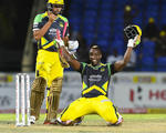 Andre Russell is all smiles after scoring a historic century