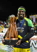 Chris Gayle with the trophy after his side won the tournament