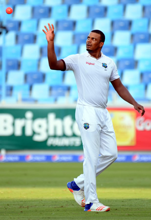Shannon Gabriel gets ready to bowl