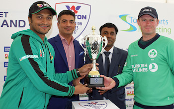 The Bangladesh and Ireland captains with the trophy ahead of the Tri-Series 2017