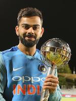 Virat Kohli with the ICC Test Mace 2018