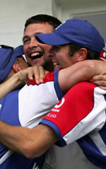 Stephen Harmison & Michael Vaughan celebrate after beating Australia in the fourth Ashes Test at Trent Bridge