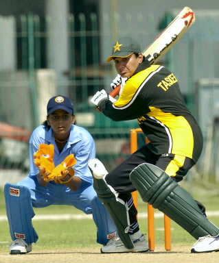 Taskeen Qadeer gets ready to play a shot