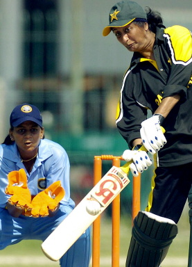 Shamsa Hashmi tries to play a lofted off-drive