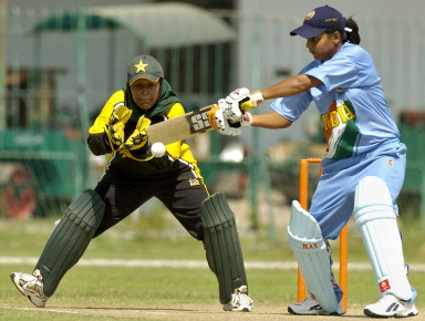 Karuna Jain tries to play a cut shot