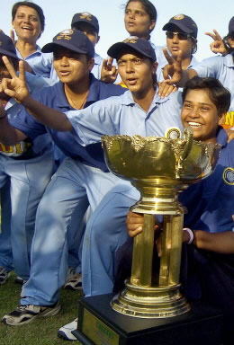 India Under-21s Women cricketers celebrate after winning the 4-ODI Series
