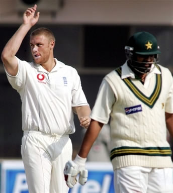 Andrew Flintoff celebrates the wicket of Inzamam