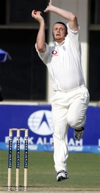 Andrew Flintoff delivers a ball