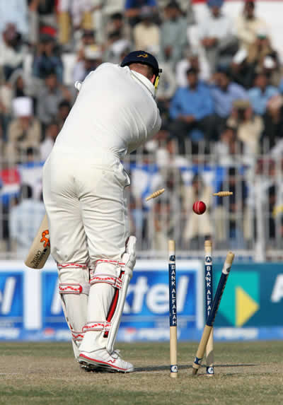 Andrew Flintoff is bowled out
