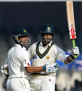 Mohammad Yousuf celebrates after his 200 runs